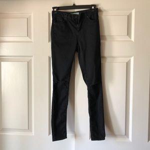 Topshop Moto Leigh Black Knee Rip Jeans